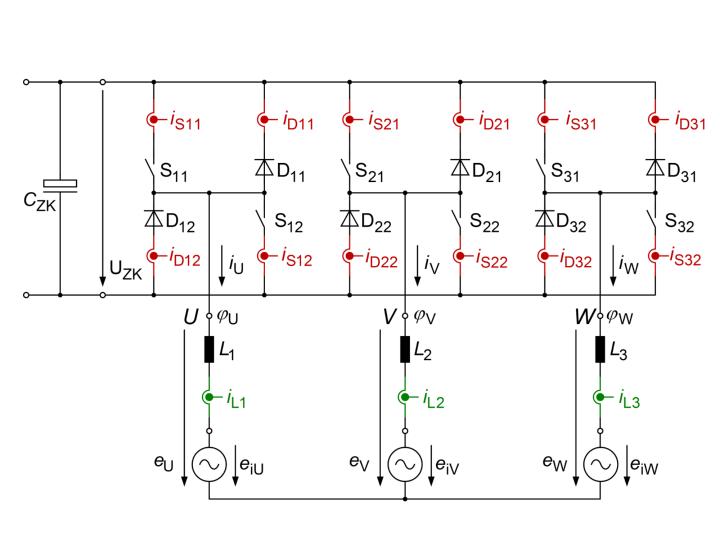 Ersatzschaltbild mit Strommesspunkten (c)