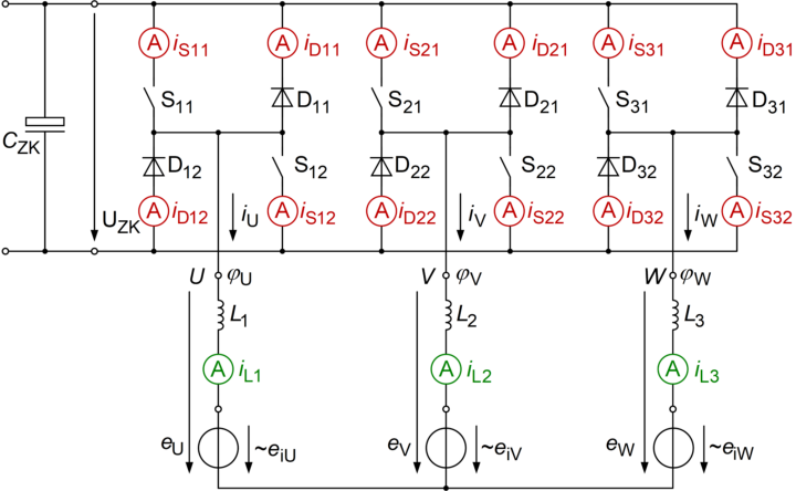 Schematic with points of current measurement (c)